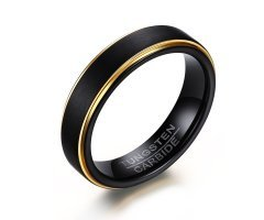 Vnox Wedding Band finitura opaca carburo di tungsteno uomo Promessa Anello Black Gold,5 mm