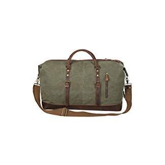 S-ZONE-Grere-Version-Vintage-Segeltuch-Canvas-Leder-Unisex-Handgepck-Reisetasche-Sporttasche-fr-Reise-am-Wochenend-Urlaub-52-Liter-Aktualisiert-Updated