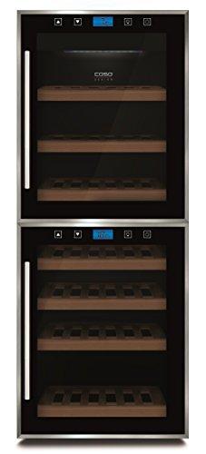 CASO-WineComfort-Touch-38-2D-Design-Weinkhlschrank-fr-bis-zu-38-Flaschen-bis-zu-310-mm-Hhe-zwei-Temperaturzonen-5-20C-Energieklasse-A