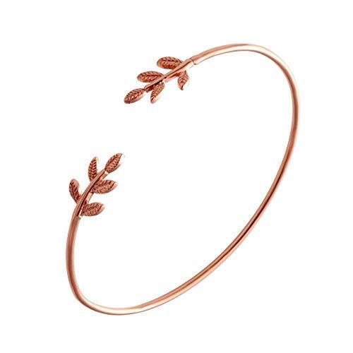 RIVERTREE Rose Gold Einfache Olive Blatt Branch Open Draht Armreif Armreif f¨¹r Frauen einstellbar