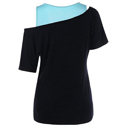 Damen-2-in-1-Tops-Rovinci-Tops-Sommer-Schiefe-Kragen-T-Shirt-rmellos-Weste-Lwenzahn-Drucken-Strappy-Tank-Bluse-Blumen-Gedruckt-Vest-Casual-Printing-Trgershirt-Tanktop-Oberteile-Unterhemd