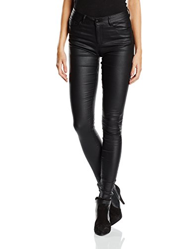 VERO MODA Damen Skinny Hose Vmseven Nw S.slim Smooth Coated Pants
