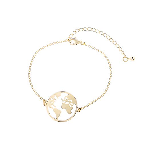 GD GOOD.designs EST. 2015 ® Damen Armkette mit Weltkugel Anhänger (verstellbar) Weltkarte Armband mit kleinem Globus