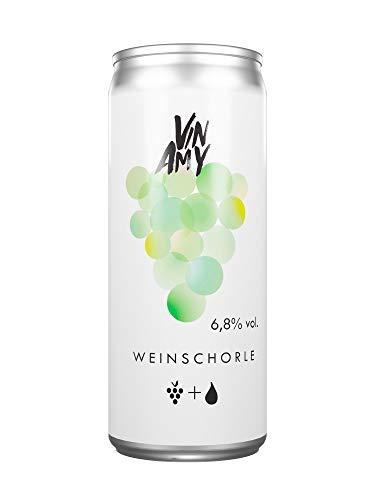 VINAMY-WEINSCHORLE-Dose-Wei-Riesling-halbtrocken-feinherb-VEGAN-Weissweinschorle-250ml-Dose-60-Wein-40-Wasser