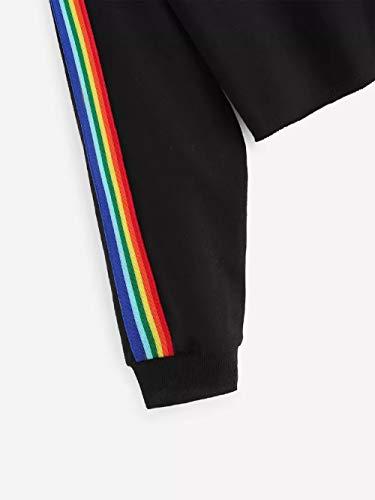 Bluse-Damen-Herbst-Shirt-Langarm-Regenbogen-Patchwork-O-Ausschnitt-Sweatshirt-Lssige-Bluse-Pullover-Langarmshirt-Tops-Oberteil-Hemd-Tunika