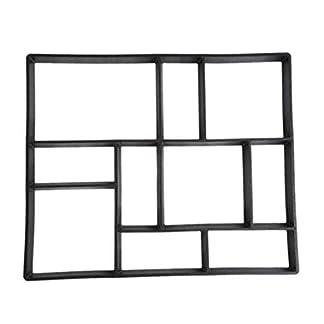 Sanzhileg-DIY-Einfahrt-Kunststoff-Pflaster-Pflasterstein-Steinform-Beton-Schritt-Pathmate-Mold-Paver-Garten-Dekoriert-Werkzeug-Schwarz