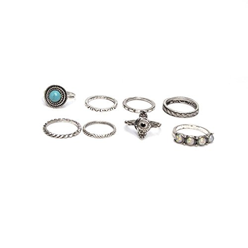 DesiDo® Midi Ring Set Schmuckset Ringset Midis Bohostyle Orientalisch Hand Fatima Vintage Retro Ring used style Elefant Ringset Boho Ringe in Silber und Gold-Optik