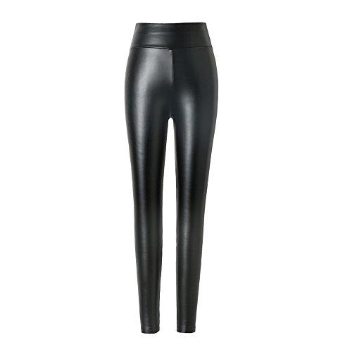 Damen kunstleder leggings Hitueu High Waist Leggings Hose Strumpfhosen Treggins Leggins Kunstleder Leggings Leder Look hüfthoch