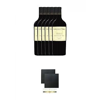 Concha-y-Toro-Cabernet-SauvignonMerlot-Magnum-aus-Chile-6-x-15-Liter-Schiefer-Glasuntersetzer-eckig-ca-95-cm–2-Stck