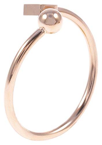 Happiness Boutique Damen Ring mit Würfel und Kugel in Rosegold | Geometrischer Ring Kubus in Rosegold Edelstahlschmuck
