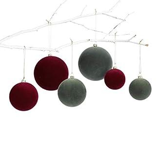 Pureday-Weihnachtsdeko-Deko-Hnger-Kugel-6er-Set-Christbaumkugeln-Samt-Rot-Grn
