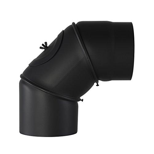 Kamino Flam Uni-Knie schwarz mit Tür, verstellbarer Winkel von 90° – 180°, Abgasrohr aus Stahl mit hitzebeständiger Senotherm® Beschichtung, geprüft nach Norm EN 1856-2, Durchmesser: ca. 130 mm
