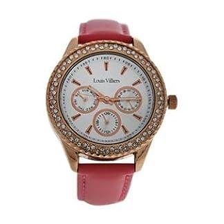 Louis-Villiers-Unisex-Analog-Quarz-Uhr-mit-Leder-Armband-LV2079