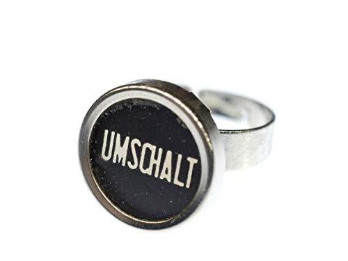 Miniblings Ring Umschalt Schreibmaschinentaste Vintage Taste Upcycling schwarz
