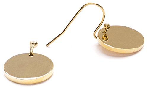 Happiness Boutique Damen Plättchen Ohrhänger in Goldfarbe   Ohrringe mit Disk Kreis Form Kleine Hängeohrringe