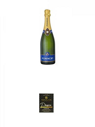 Pommery-Brut-Royal-Champagner-075-Liter-Chateau-du-COQ-Prosecco-Kondom-3er-Packung