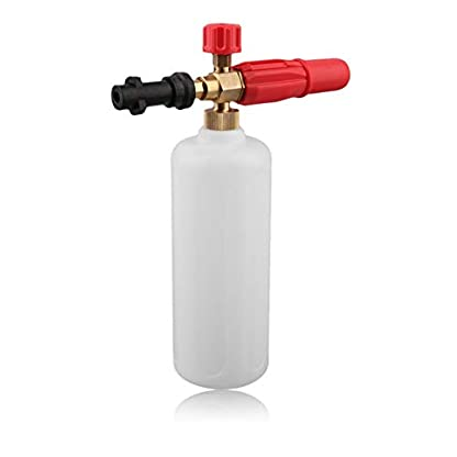 Hochdruck-HD-Messing-Schaumkanone-mit-1-Liter-Messflasche-fr-Karcher-K-Fahrzeug-Autowscher-kompatible-Schneeschaumlanze-Wei