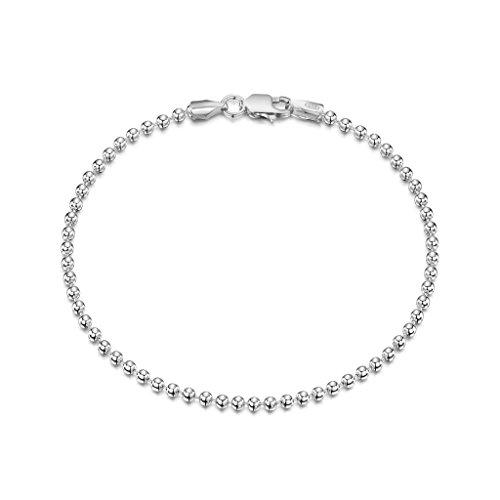 Amberta 925 Sterlingsilber Armkette – Kugelkette Armband – 2 mm Breite – Verschiedene Längen: 18 19 cm