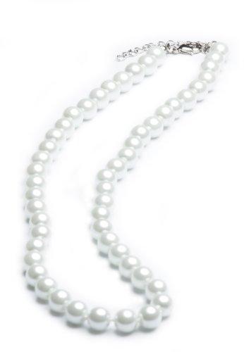 Perlenkette geknotet – Perlenarmband – Perlenohrringe – Set Weiss