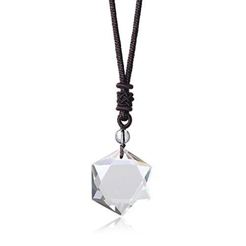 COAI® Geschenkideen Glückskette Hexagramm David-Stern Anhänger aus Edelsteine Halskette für Männer und Frauen