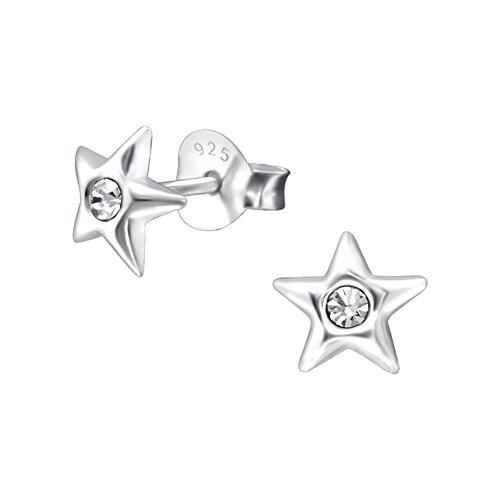 2 Paar Kinder Ohrringe 925 Silber Ohrstecker Kleiner Engel und Stern mit Zirkonia Stein hell