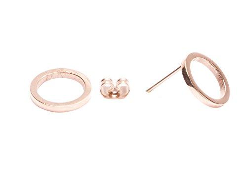 Happiness Boutique Damen Offen Kreis Ohrstecker Rosegold | Kleine Runde Ohrringe aus Titan mit Rosegold Überzogen Minimalist Design