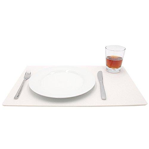 Filzuntersetzer Platzset Platzmatte Tischuntersetzer Glasuntersetzer Tischschoner Filz Untersetzer abgerundet eckig quadratisch ca. 45 x 30 cm für Hochzeit und zur Dekoration (1 Stück – 45 x 30 cm, 01 weiß)