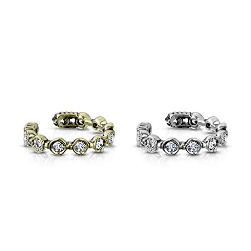 beyoutifulthings Ohr-klemme ZIRKONIA REIHE clear Ohringe Ohr-ringe Ohr-clip Fake-Piercing Messing Silber Gold