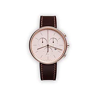 Uniform-Wares-Unisex-M40-Chronograph-Watch-In-PVD-Rose-Gold-with-Brown-Nappa-Leather-Strap
