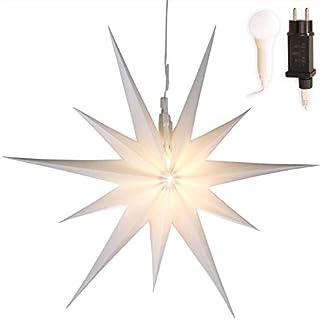 Stern-Weihnachten-wei-beleuchtet–50cm-mit-11-Zacken-zum-Aufhngen-7m-Strom-Kabel-mit-LED-Birne-auen