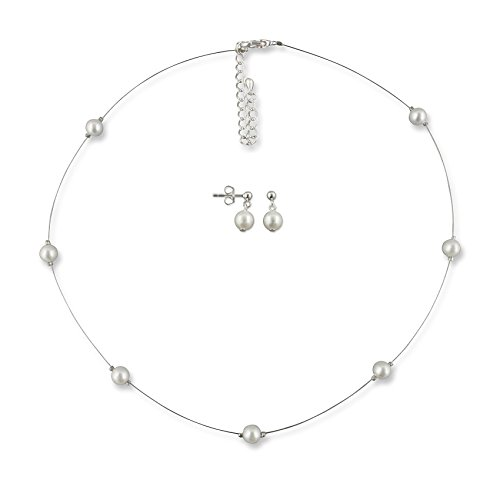 Rivelle Damen Hochzeit Schmuckset Stephanie Brautschmuck Set Perlen Ohrringe Collier Kette Modeschmuck Hochzeit Geschenkbox 41384