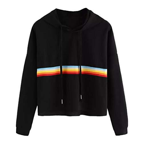 Damen-Kapuzenpullover-Schwarz-Fashion-Mdchen-Langarm-Herbst-Winter-Warme-Tops-Regenbogen-Patchwork-O-Hals-Hoodie-Sport-Sweatshirt-Festliche-Urlaub-Bluse-Hemd-Oberteile