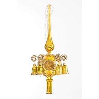 Christbaumspitze-Lauscha-Glas-Baumspitze-GoldGlanz-mit-6-Glckchen-und-goldenen-Schweif