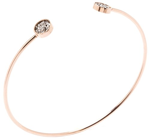 Happiness Boutique Damen Cuff Armband in Rosegold | Offener Armreif mit Schmucksteinen in Minimalist Design nickelfrei