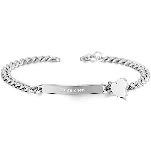 MeMeDIY Edelstahl Armband Link Herz Polished – Kundenspezifische Gravur