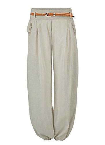 Damen Haremshose Elegant Pumphose Lange Leinen Hose mit Gürtel Aladin Pants