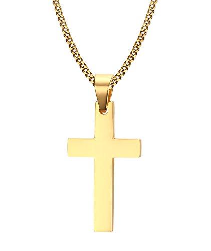 Vnox Herren-Halskette mit schlichtem Kreuzanhänger, Kette in kubanischem Stil, Kettenlänge: 60cm, Edelstahl