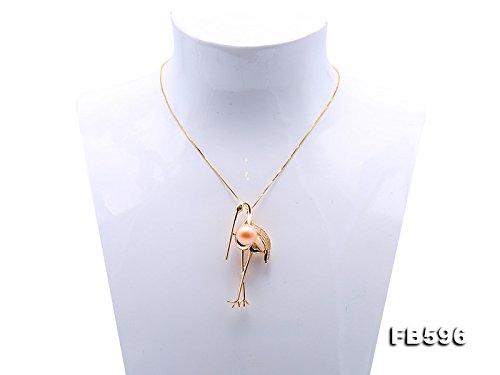 JYX Brosche Stifte Graceful Crane Design 11.5mm rosa Perle Brosche