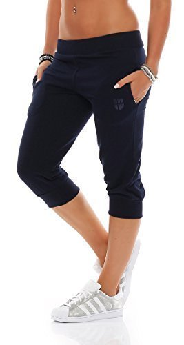 Gennadi Hoppe Damen 3/4 Trainingshose Sporthose kurze Hose Sport Fitness Jogginghose Shorts Barmuda