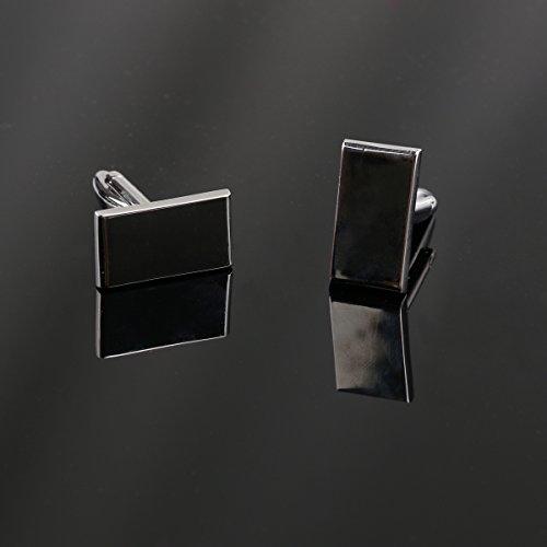 WINOMO Hochwertige Herren Hemd-Manschettenknöpfe Rechteck Ärmel Buttons – beste Geschenk für Herren (Silber)