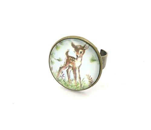 Reh Cabochon Ring bronze-farben Rehkitz Rehlein