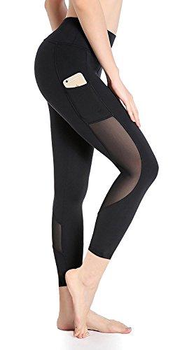 DeepTwist Damen Yogahose Workout Strumpfhose Sports Hosen Fitness Leggings mit Taschen