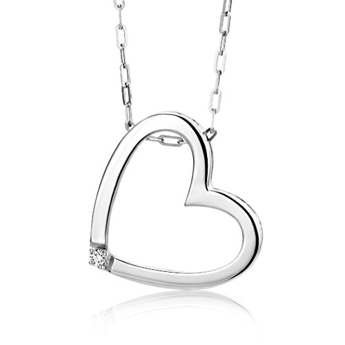 Miore Damen-Halskette mit Herz-Anhänger / Hübsche Kette aus 925 Sterling Silber mit 0,01 ct. Diamant / Halsschmuck 45cm lang, Silber