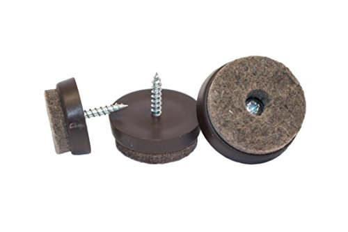 haggiy Filzgleiter zum Schrauben mit Kunststoffbasis in braun | Ø 30 mm (16 Stk.)