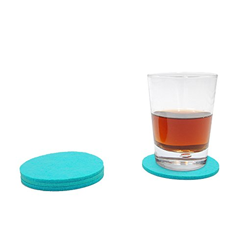 Filzuntersetzer Tassenuntersetzer Glasuntersetzer Tischschoner Filz Untersetzer rund ca. 4mm dick ca. Ø 10 cm Durchmesser (4 Stück ca. Ø 10 cm, 57 Türkis)