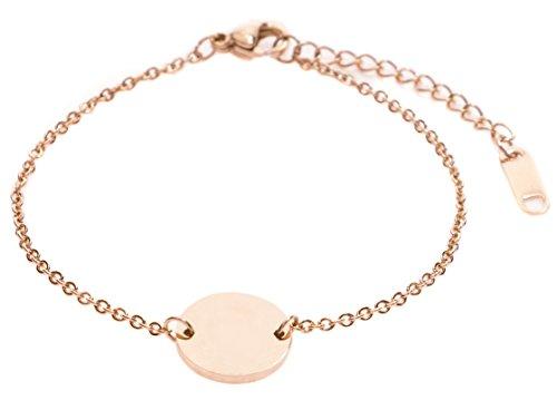 Happiness Boutique Damen Kreis Armband Minimalist | Rosegold Armband mit Plättchen Geometrisches Design
