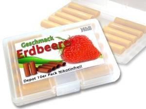 Depots ,,Erdbeere,, 10er Pack im Etui für E-Zigaretten ohne Nikotin