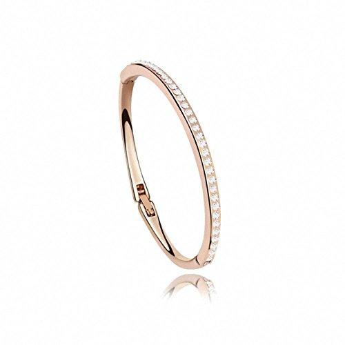 Damen Armreifen Glitzer Rosegold mit Swarovski Kristall Armband Rund 0,3cm Länge 19CM