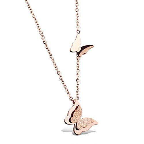 Niedliches Schmuckset mit Schmetterlings-Motiv von HooAMI, aus Roségold-Edelstahl, Set aus Ohrsteckern, Halskette und Ring