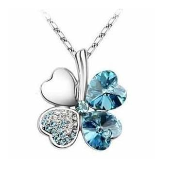Exquisite Kristall Four Leaf Clover Flower Herz-Anhänger Silber Halskette Kette mit österreichischen Kristallen Aquamarin Blau